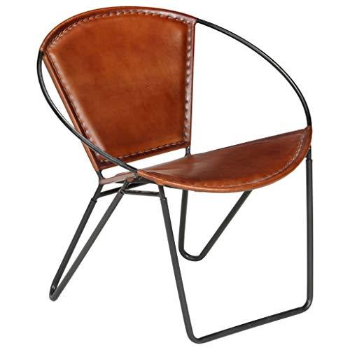 Festnight- Relaxstuhl Echtleder | Echt Leder Stuhl | Vintage Stühle mit Rückenlehne | Retro Lederstuhl | Braun/Schwarz Stahlrahmen 69×69×69 cm
