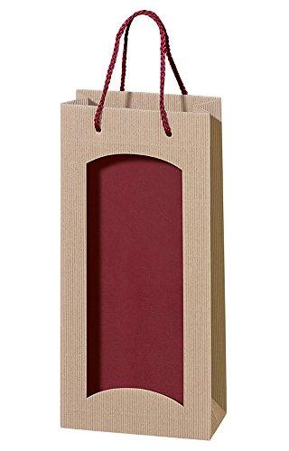 5 Stück/Set. Wein 2er Flaschenbeutel, Wellpappe, Natur & Rot mit Sichtfenster