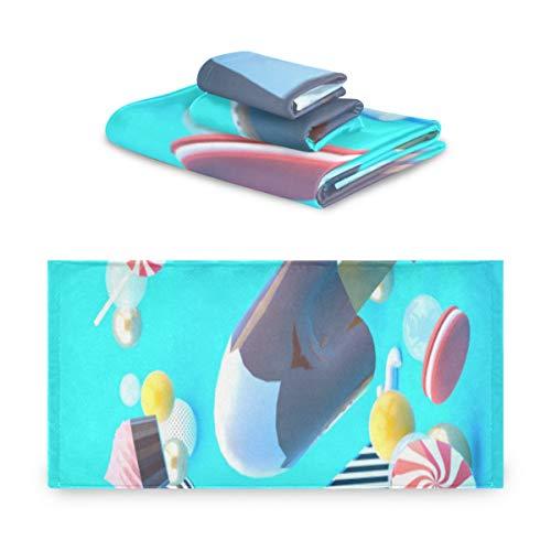 ZQLR Suave Juego De 3 Toallas Helado De Chocolate Entre Cupcakes Juegos De Baño Macaron para Baño 1 Toallas De Baño 1 Toalla De Mano 1 Toallita para Baño, Hotel, Gimnasio, SPA Y Playa