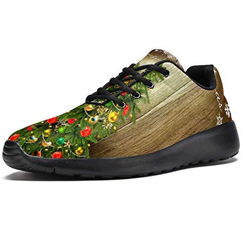 TIZORAX Zapatillas de correr para mujer, tarjeta de Navidad con árbol, copos de nieve, zapatillas de deporte de malla, transpirables, para caminar, senderismo, tenis, color Multicolor, talla 38.5 EU