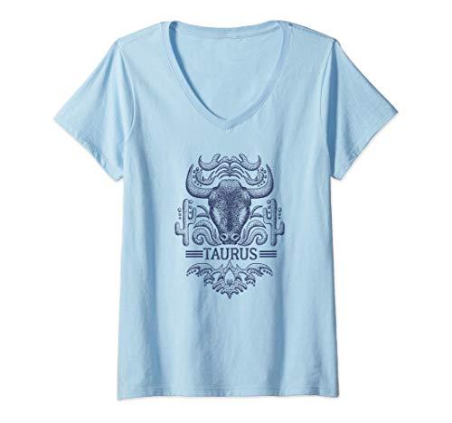 Mujer Camisa Retro Del Zodiaco Tauro Signo Tauro Cumpleaños Retro Camiseta Cuello V