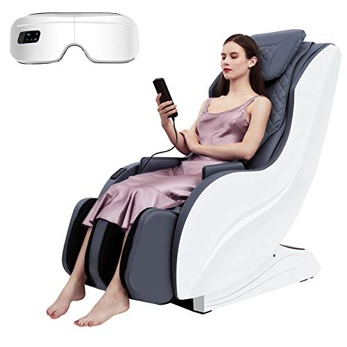 Sillón de masaje eléctrico, masajeador Shiatsu Masaje Compresión del aire 3D profundo amasado con calor para el alivio del dolor muscular contiene masajeador de ojos y almohada de masaje inalámbrico
