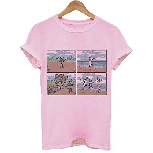 T-Shirt Femme Chemise Drôle Femmes Vintage Deceptive Style New Summer Casual Chemise pour Femmes M 2990-Rose