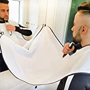 Beard Apron Cape Beard Shaving Bib for Men Trimming and Hair Clippings Catcher Grooming with 4 Suction Cups Beard Trimming Apron white