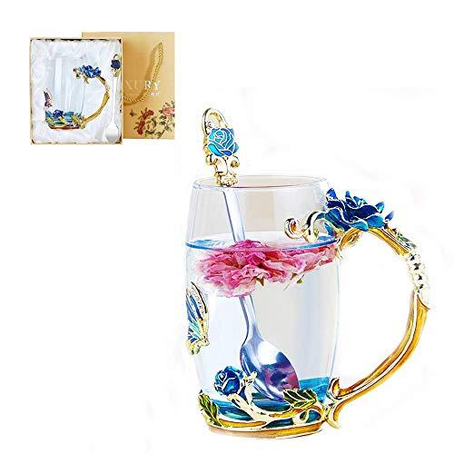 Lustrique Blue Rosaria Tea Cup Set(Tall Tea Cup + Spoon Only)