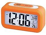 Trevi SLD 3068 S Orologio Termometro Digitale con Sveglia, Grande Display LCD, Calendario, Sensore per Illuminazione Automatica, Funzione Snooze, Arancio
