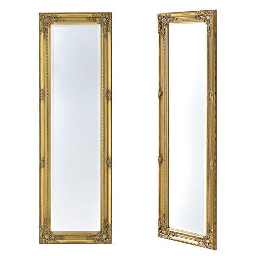[en.casa] Specchio da Parete a Figura Intera 132 x 42 x 3,5 cm Forma Rettangolare con Fissaggio Verticale/Orizzontale Cornice in Eucalipto Stile Barocco - Color Oro
