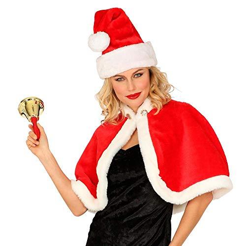 Widmann 10669 10669 Costume Miss Santa Cape, épaule, couvre-lit, fourrure synthétique, rouge/blanc, Noël, Avent, Nicholas, elfe pour femme