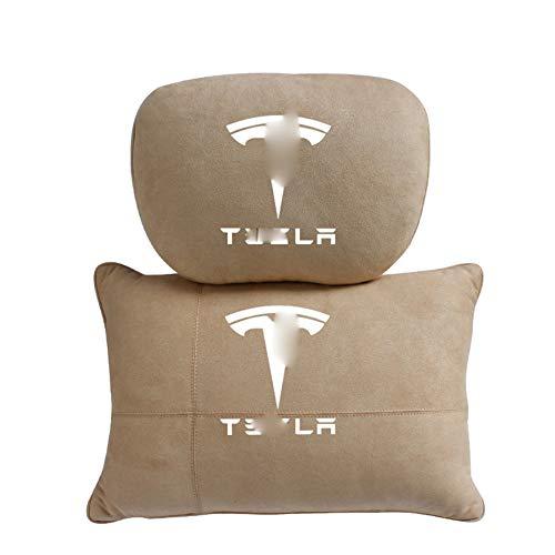 QIEP 2pcs Car Cervical Spine Neck Headrest Pillow Lumbar Cushion Accessories for Tesla ModelX Model3 Model S