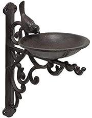 CasaJame Bebedero para pájaros de hierro fundido para montaje en pared, cuenco con pájaro marrón oscuro, longitud 23 cm, ancho 14 cm, altura 25 cm
