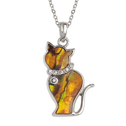 Kiara Schmuck Katze Anhänger Halskette eingelegten mit natürlichen orange Paua Abalone Shell mit Glas Steinen Rundum Halsband auf 45,7cm Trace Kette. Nicht trüben Silber Farbe Rhodium vergoldet.