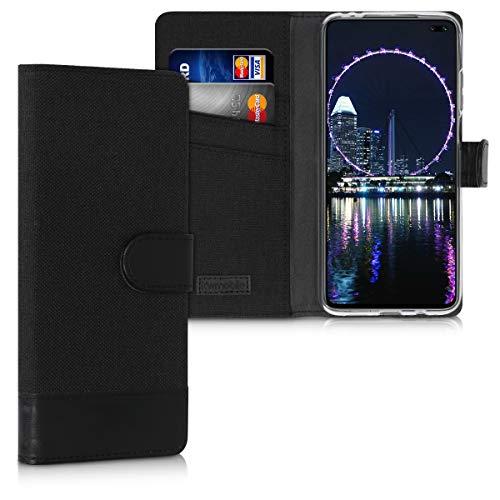 kwmobile Wallet Hülle kompatibel mit Xiaomi Redmi K30 - Hülle Kunstleder mit Kartenfächern Stand in Anthrazit Schwarz