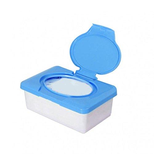 Sundatebe Feuchttücher-Aufbewahrungsbox aus Kunststoff, für Zuhause, das Auto, das Büro, mit wiederverschließbarem Deckel, plastik, blau, Einheitsgröße