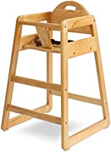 LA Baby Commercial Grade Stack-Able Solid Wood High Chair for Restaurant & Home Use - Natural Color