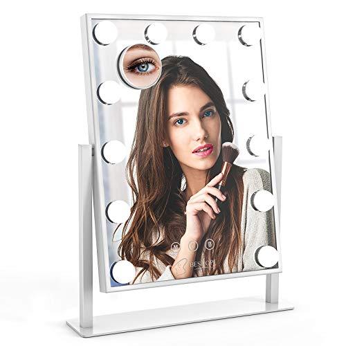BESTOPE Schminkspiegel Kosmetikspiegel Hollywood Spiegel mit 10X Abnehmbare Vergrößerungsspiegel 3 Beleuchtungsmodi 12 Dimmbare LED-Lampen Smart Touch Control 360 ° Drehung