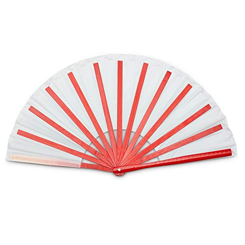 Bamboo Large Chinese Hand Fan - Red, White, Frame - Chinese/Japanese Accessories, Party Favor, Folding Fan for Women - Nylon Cloth Fabric - Long-Lasting, Durable
