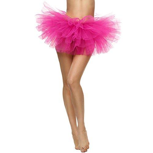 Litale Schöne Damen Elastisch Dehnbar Tüllkleid Rockabilly Erwachsenen Mädchen Tüllrock Tutu 5-Lagiger Rock Abschlussball Karneval Petticoat Unterrock Kurz Ballett Rock Skirt Dress