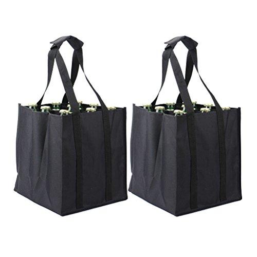 Tebery 2 Piezas Bolsa para botellas 9 Compartimentos, Bolsa portabotellas para Transporte de Vino Cerveza Agua, negro, 26 x 28 x 26 cm
