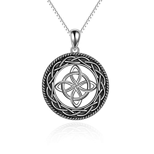 Celtic Love Knot Necklace Jewelry Sterling Silver Good Luck Vintage Triquetra Irish Celtic Love Heart Pendant Necklace for Women Girls (Celtic Necklace)