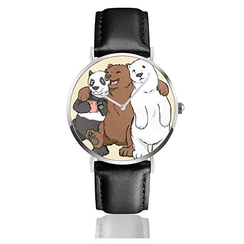 Relojes Anolog Negocio Cuarzo Cuero de PU Amable Relojes de Pulsera Wrist Watches Somos Osos Desnudos