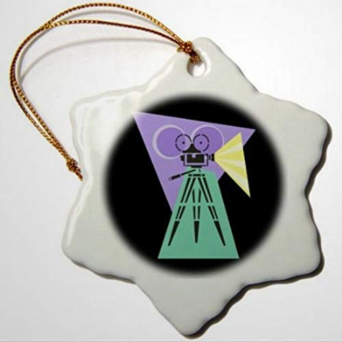 BYRON HOYLE Retro Movie Camera Snowflake Decorative Hanging Ornament Pandemic Xmas Decor Wedding Ornament Holiday Present