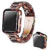 Heampt Correa con Caja Compatible con Apple Watch Correa 38 40 42 44mm,Resina Correa de Repuesto por iWatch Series SE/6/5/4/3/2/1(Carey,42mm)