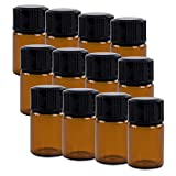 2ml Mini Amber Glass Bottles with Orifice Reducer and Cap for Essential Oils, Chemistry Lab Chemicals, Colognes & Perfumes (12 Pack)