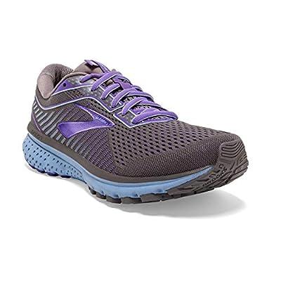 Brooks Womens Ghost 12 Running Shoe - Shark/Violet/Bel Air Blue - B - 7.5