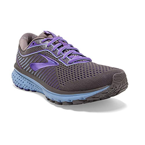 Brooks Womens Ghost 12 Running Shoe - Shark/Violet/Bel Air Blue - B - 7.5
