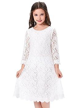 GRACE KARIN Princess Kids Girls 3/4 Sleeve Flower Lace Dress  8-9yrs  CL010442-1 White