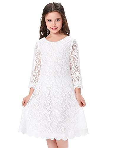 Girls Princess Lace Long Sleeves Flower Dresses (11-12yrs) CL010442-1 White