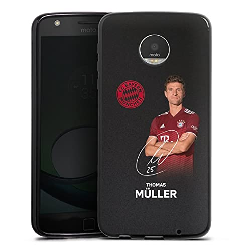 DeinDesign Silikon Hülle kompatibel mit Lenovo Moto Z Play Hülle schwarz Handyhülle FC Bayern München Thomas Müller Offizielles Lizenzprodukt
