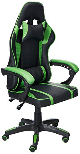 AudioTek Silla Gamer Gaming Consolas Pc Ergonomica Reclinable Colores (Verde)