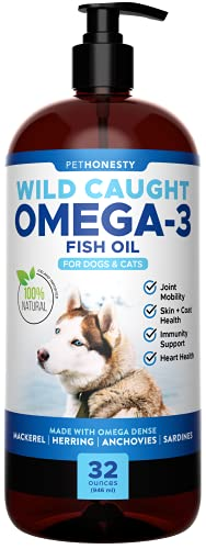 PetHonesty 100% Natural Omega-3 Fish Oil for Dogs from Iceland- Omega-3 for Dogs- Pet Liquid Food Supplement- EPA+DHA Fatty Acids Reduce Shedding & Itching- Supports Joints  Brain & Heart Health -32oz