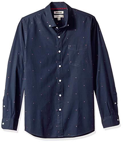 Amazon-Marke: Goodthreads Herrenhemd, langärmlig, schmale Passform, aus Dobby, Blau (Navy Arrow Arr), US S (EU S)