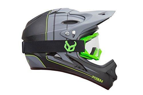 Demon Podium Full Face Mountain Bike Helmet with Green Viper MTB Goggles (Medium)