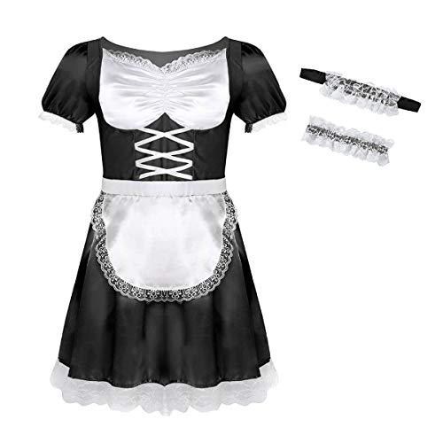inlzdz Herren Sissy Kleider Zimmermädchen Kostüm Männer Unterwäsche Maid Kostüm Cosplay Dessous-Crossdresser Schlafanzug Reizwäsche Schwarz 2X-Large