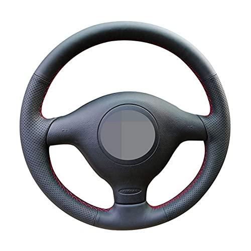 Qind1aS - Funda para volante de coche para Seat Leon MK1 1998 ~ 2005 Skoda Fabia RS 2003 Fabia 1 2004 ~ 2005 (hilo rojo azul)