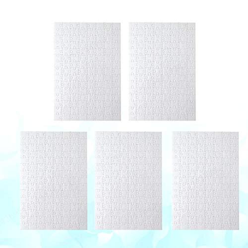 DULALA Rompecabezas 5 Piezas A4 Rompecabezas en Blanco Piezas de Rompecabezas de Bricolaje Rompecabezas de sublimación Blanco Rompecabezas de Transferencia de Calor artesanía