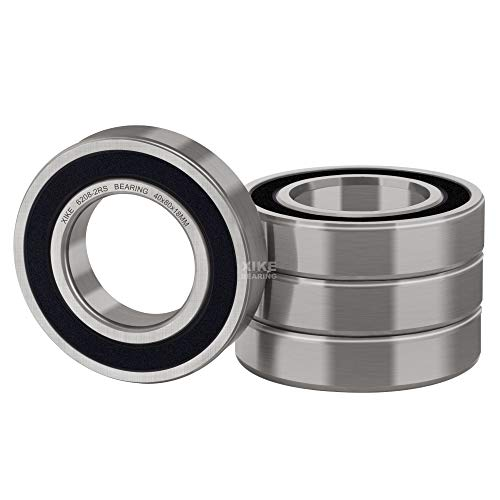 XiKe 4 Pcs 6208-2RS Double Rubber Seal Bearings 40x80x18mm, Pre-Lubricated and Stable Performance and Cost Effective, Deep Groove Ball Bearings.