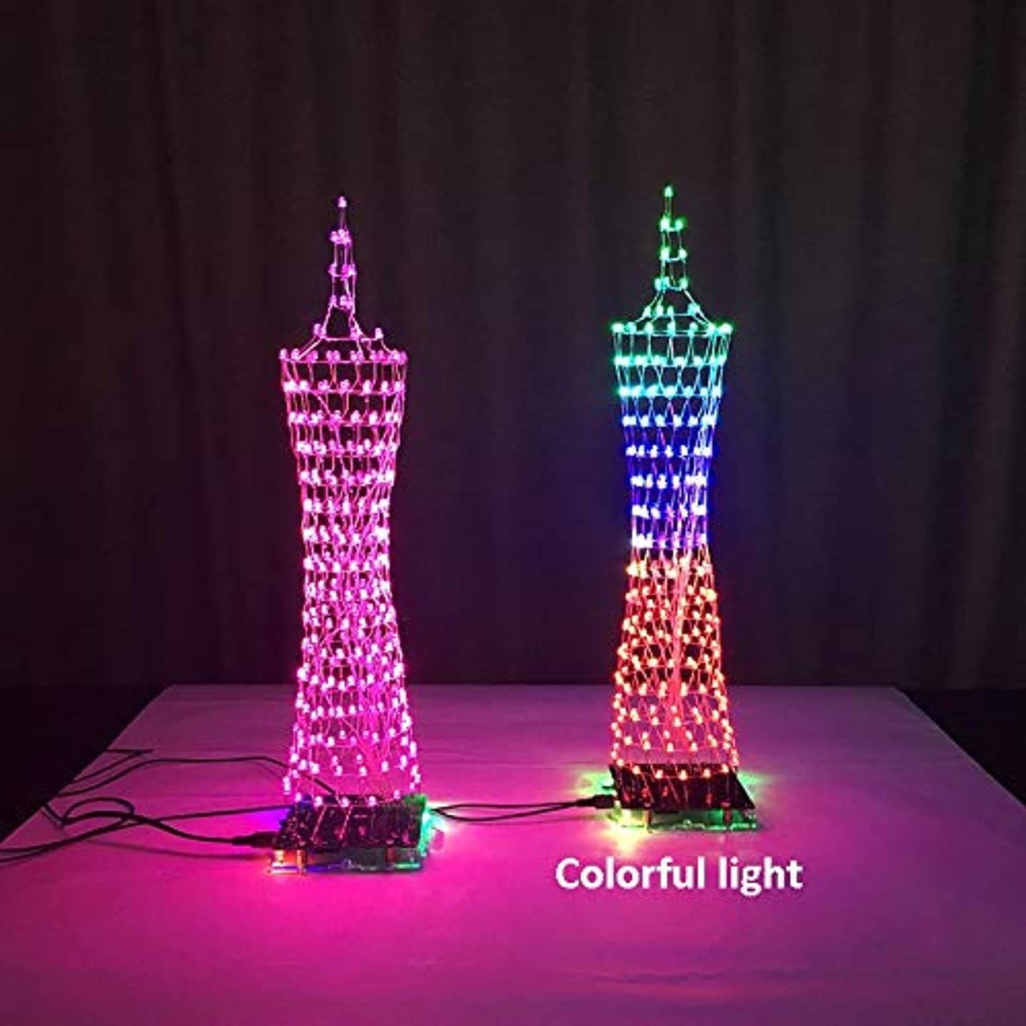 SHAPB Colorful LED Tower Display Lamp Infrared Remote Control Electronic DIY Kits Music Spectrum Soldering Kits DIY Brain-Training Toy(1PCS)