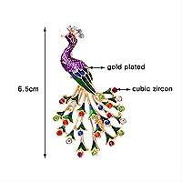 カラフルな孔雀の鳥のブローチシルバーカラージルコンブローチ女性用ジュエリー