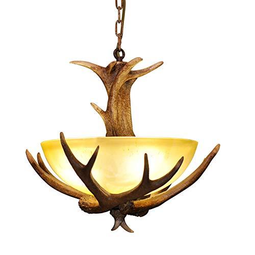 CSDM.AI Vintage Lámpara De Techo, Lámpara Colgante Ciervos Cuerno De Resina Colgante Pot Comedor Sala De Estar Pantalla De Vidrio Esmerilado Lamp [Clase De Eficiencia Energética A]