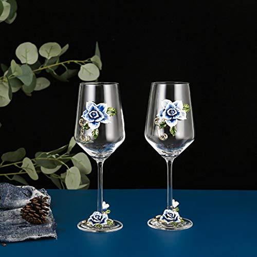 AYES Copa de vino rojo/blanco, pintada a mano, con flor esmaltada, copa de vino de ginebra, de tallo largo, sin plomo, regalo ideal para mujeres, mamá, amigas, día de la madre (azul 2 lite)