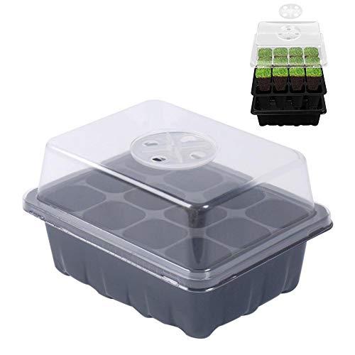 Sanmubo Trading 5-teiliger 12-Loch-Samen- und Kräuterkuppel-Propagator mit Entlüftung, Sämlingsbox, Hochleistungs-Zuchtschale Mini-Gewächshaus für Sämlinge