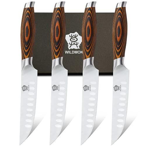 WILDMOK 4-teilig Steakmesserset 12,8cm Klinge aus Deutschem Stahl, Ergonomischer Griff Steakhouse Messerset (4-teilig Steakmesser Set)