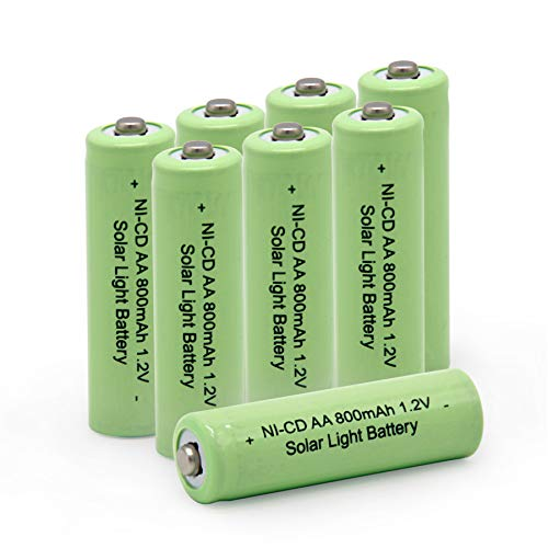 QBLPOWER AA Double A 1.2V 800mAh Ni-CD Rechargeable Battery Cell for Garden Solar Light Lamp(8 PCS)