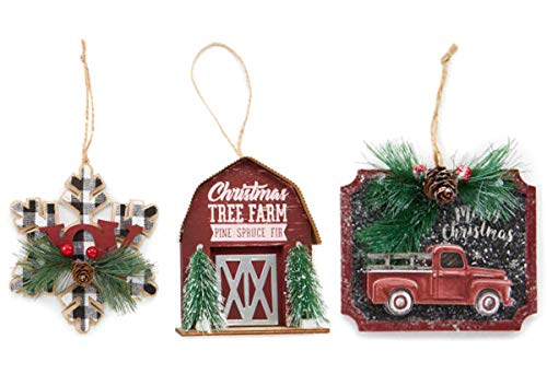 Charmed By Dragons Classic Rustic Farmhouse Decor Holiday Tree Ornaments Old Red Truck Barn Buffalo Plaid Snowflake 3 Piece Set in Gift Box (Farmhouse Set)