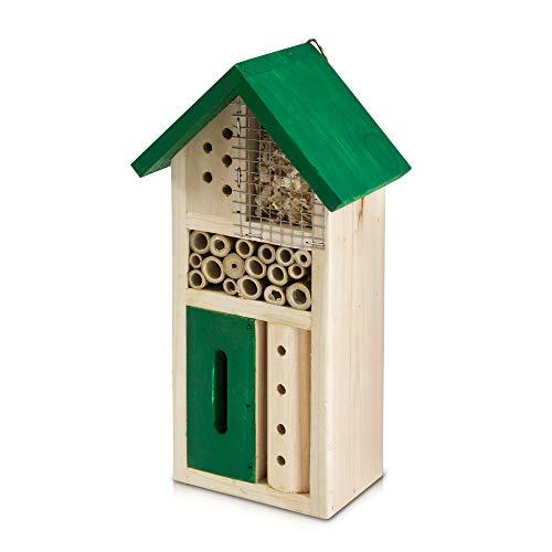 FiNeWaY Insektenhotel aus Naturholz – Gartenhaus aus Bambus – für Bienen, Schmetterlinge, Marienkäfer, Käfer – zum Aufhängen oder freistehend (klein/grün)