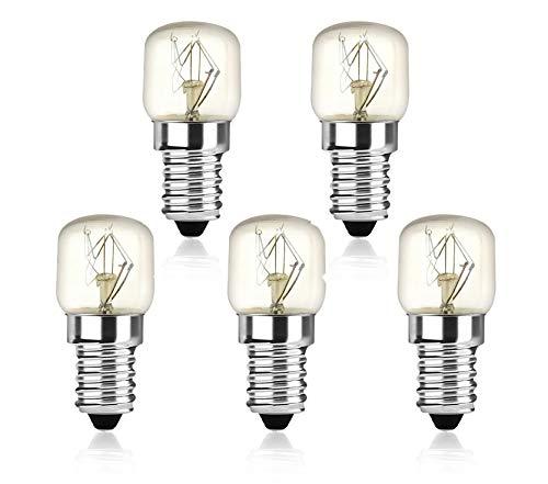 Bonlux 25W E14 Ampoule Pygmées T22 Ampoule 220-240V 150lm Résistant jusqu'à 300℃, Lumiere pour Réfrigérateur Four à Micro-ondes (Lot de 5, Blanc Chaud 2400-2600K)
